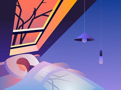 Night dreams shadow relax sleep night bed illustration girl