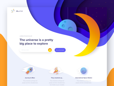 Glax - landing page shapes astronaut stars illustration moon galaxy landing
