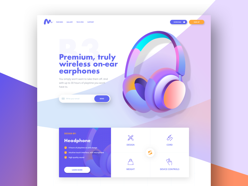 B3Sound – Landing Page website web ux ui store shop product landing headphones headphone e-commerce color