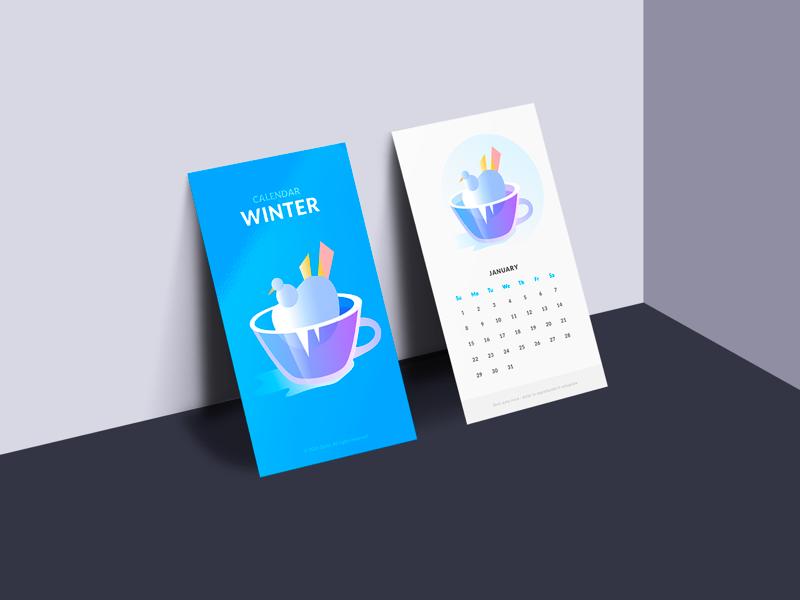 Winter Calendar - Illustration calendar vectors cup winter colors illustration