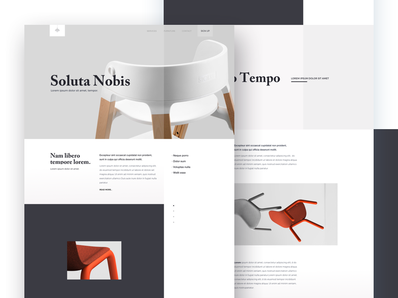 Furniture - Landing Page one clean design web ux ui minimal page landing