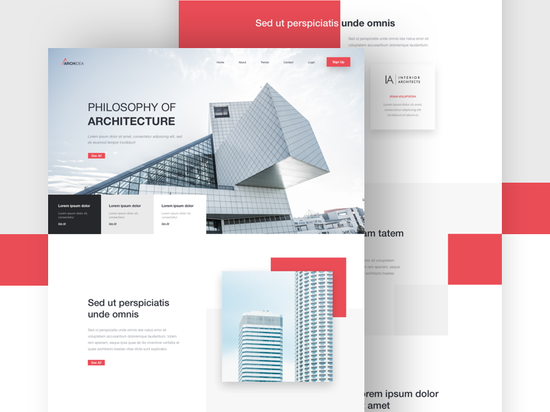 ArchIdea - Landing Page page one experience clean ux ui minimal landing