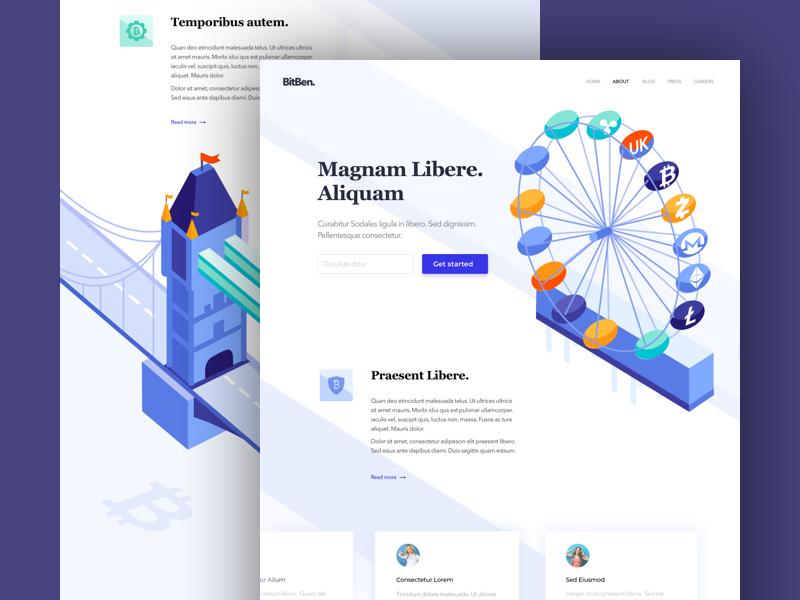 BitBen - Landing Page colors website one clean design web ux ui page landing