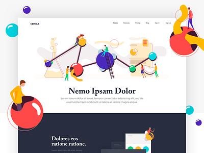 Cemica - Landing Page colors illustration one clean design web ux ui page landing