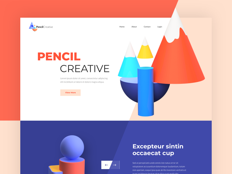 PencilCreative - Landing Page colors website one clean design web ux ui page landing