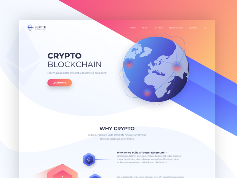 Crypto - Landing Page crypto colors one clean design web ux ui page landing