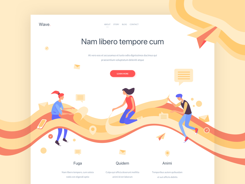 Wave. - Landing Page illustration colors one clean design web ux ui page landing