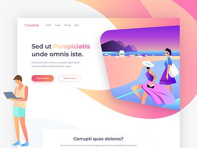Travel.io - Landing Page colors illustration one clean design web ux ui page landing