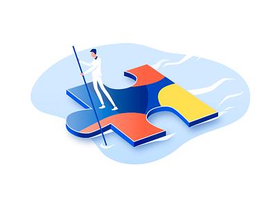 Puzzle Boat - Illustration puzzle vector colors illustration