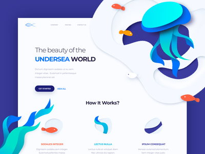 UnderSea World - Landing Page colors illustration one clean design web ux ui page landing
