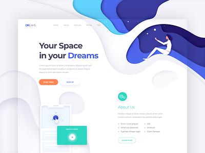 Dreams - Landing Page colors illustration one clean design web ux ui page landing