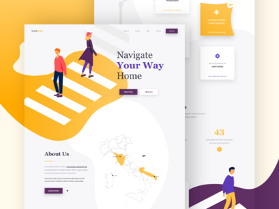 YourWay - Landing Page colors illustration one clean design web ux ui page landing