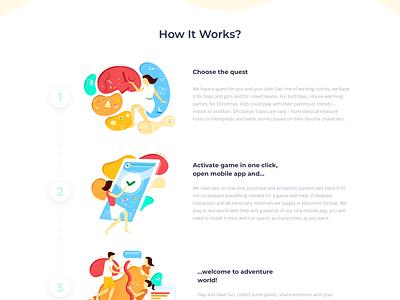 Family Quest Website vectors minimal website design ux illustration web landing colors ui clean