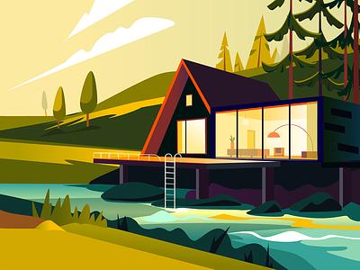 River illustration river design illustration colors clean