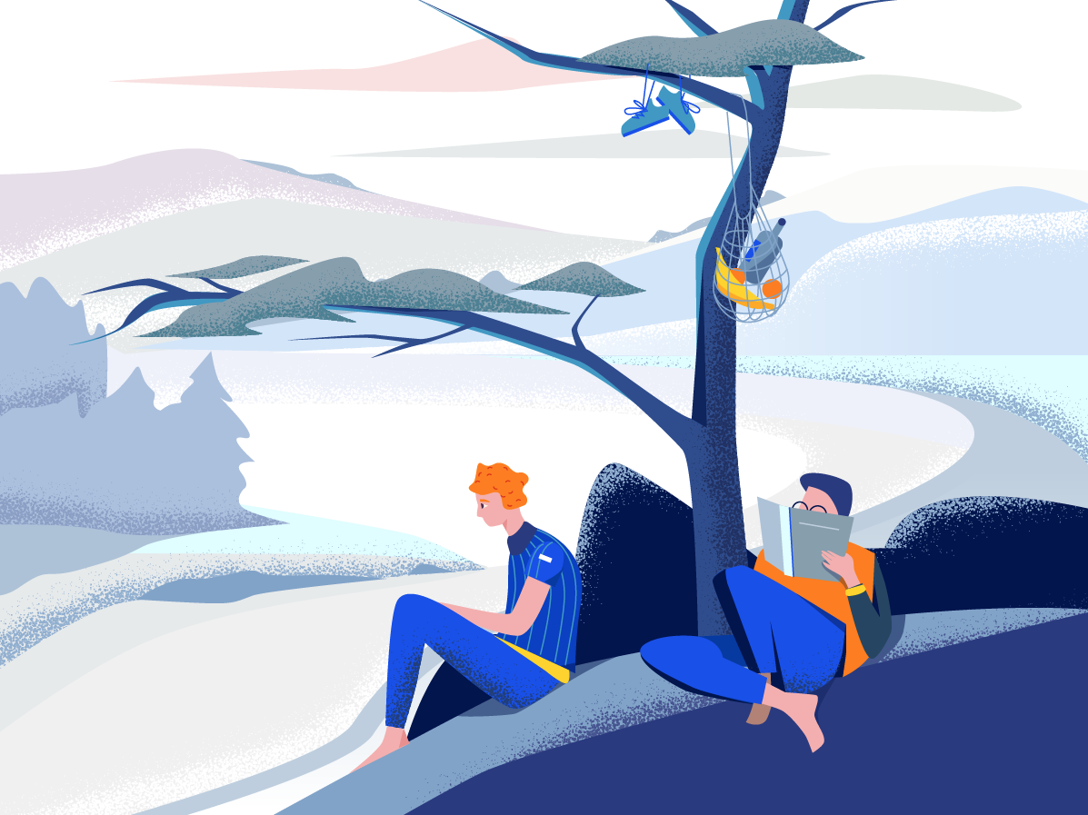 Just Chilling - illustration people winter design colors clean