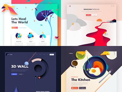 Top 4 of 2018 design minimal website animation illustration web ux landing ui colors clean