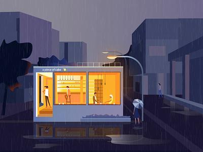 A piece of cake - illustration animation piece rain logo illustration colors clean