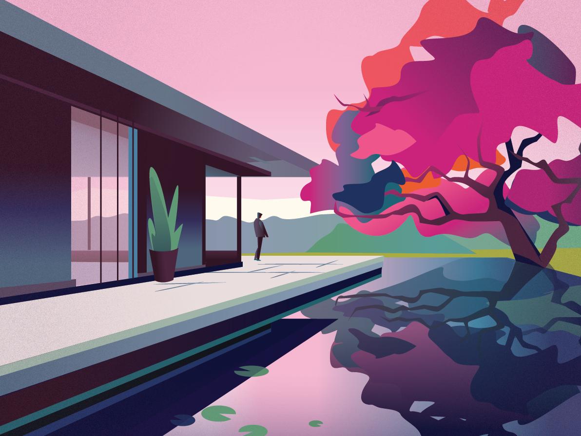 A lonely man - illustration design illustration colors clean