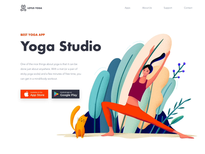 Landing page - Yoga App girl cat lady mobile leaf ux ui app apps application clean colors landing yoga