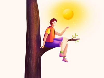 Illustration - Holding the Sun motion animation happy blue and yellow blue tree children motion girl moon sun illustration