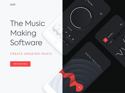 Mobile application - Music making soft app animation website minimal design web landing ux ui colors clean