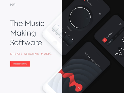 Mobile application - Music making soft app animation website minimal design web landing ux ui colors clean