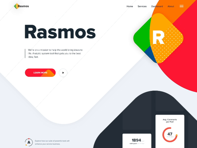 Landing page - Rasmos website animation page minimal design web landing ux ui colors clean