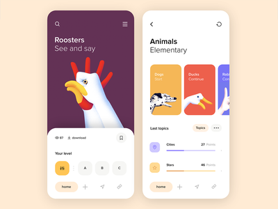 Mobile application - See and say minimal design app mobile ux ui colors clean