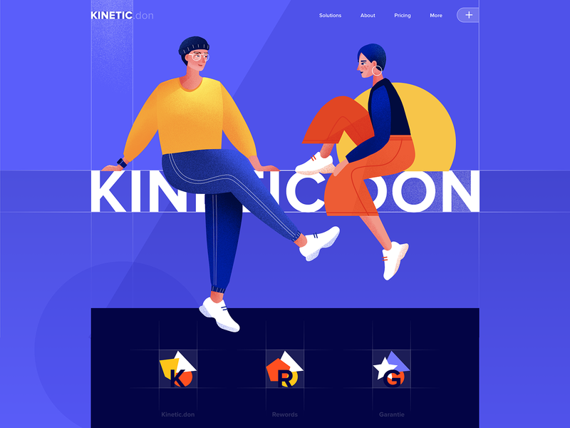Landing page - Kinetic vectors website minimal illustration design web landing ux ui colors clean