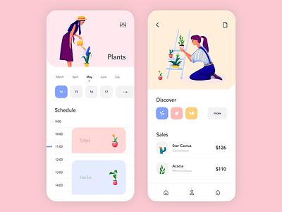 Mobile application - Plants plants app mobile minimal illustration design ux ui colors clean