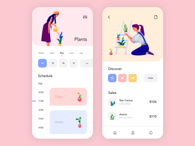 Mobile application - Plants plants app mobile minimal illustration design ux ui colors clean