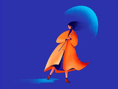 Illustration - Lady in the rain lady rain design illustration colors clean