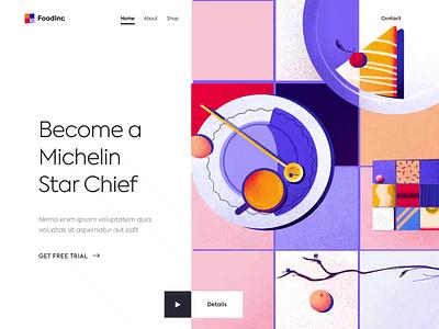 Landing page - Become a Michelin Star Chef! vectors animation website minimal illustration design web landing ux ui colors clean