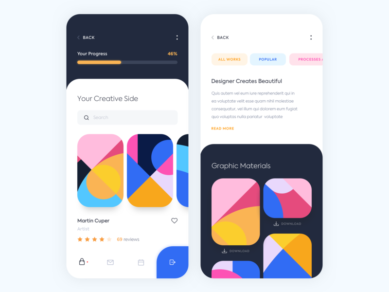 Mobile app - Graphic patterns pattern graphic app mobile ux ui colors clean