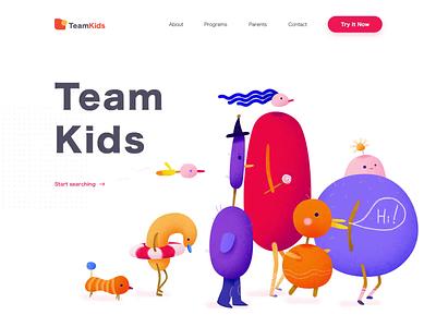 Landing Page - TeamKids landingpage team illustration website animation minimal web design landing ux colors ui clean