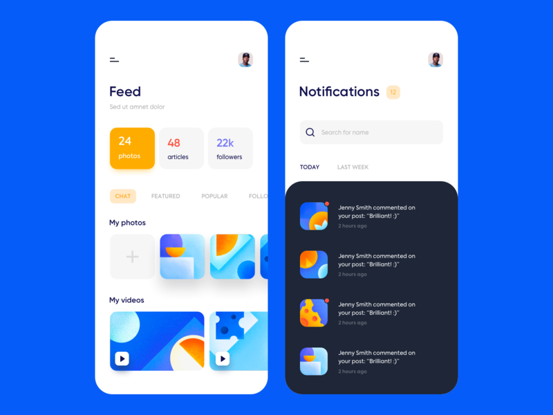 Mobile app - Social media network network media social app mobile colors ux ui clean