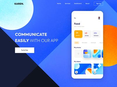 Landing page - Karen one page vectors experience app website minimal illustration design web landing ux ui colors clean