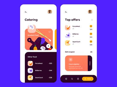 Mobile app - Best Catering app mobile design illustration ux ui colors clean