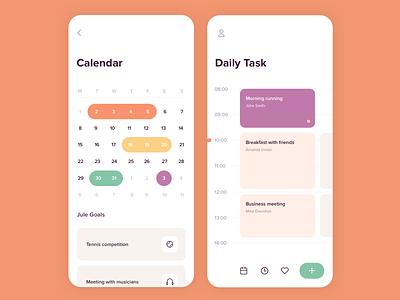 Mobile app - Goal setting calendar calendar goal app mobile minimal design ux ui colors clean
