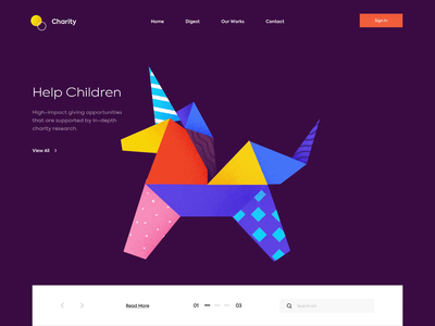 Landing page. Above the fold - Charity