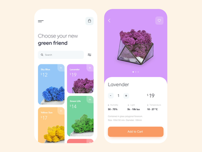 Mobile app - Iceland moss vectors page minimal animation illustration design mobile ux ui colors clean