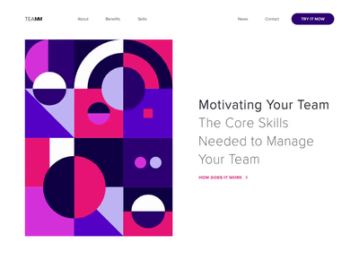 Landing page - Teamm animation website minimal illustration landing design web ux ui colors clean