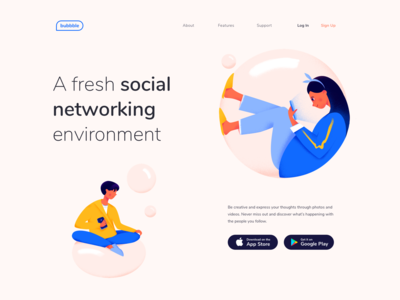 Landing page - Bubbble experience website vectors page illustration minimal landing web design ux ui colors clean