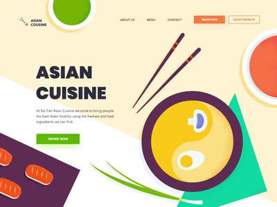 Landing page - Asian Cuisine motion vectors landing web page animation website illustration minimal design ux ui colors clean