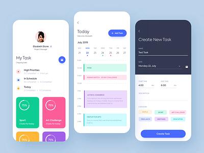Mobile application -  Task planner motion app animation minimal mobile web design ux ui colors clean
