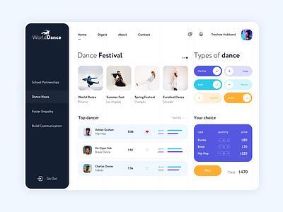 Dashboard - WorldDance product dashboard website minimal web design ux ui colors clean