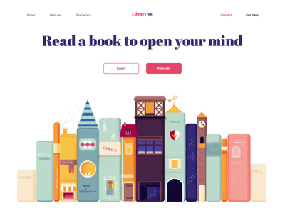 Landing page - LibraryOn page animation website minimal illustration landing web design ux ui colors clean