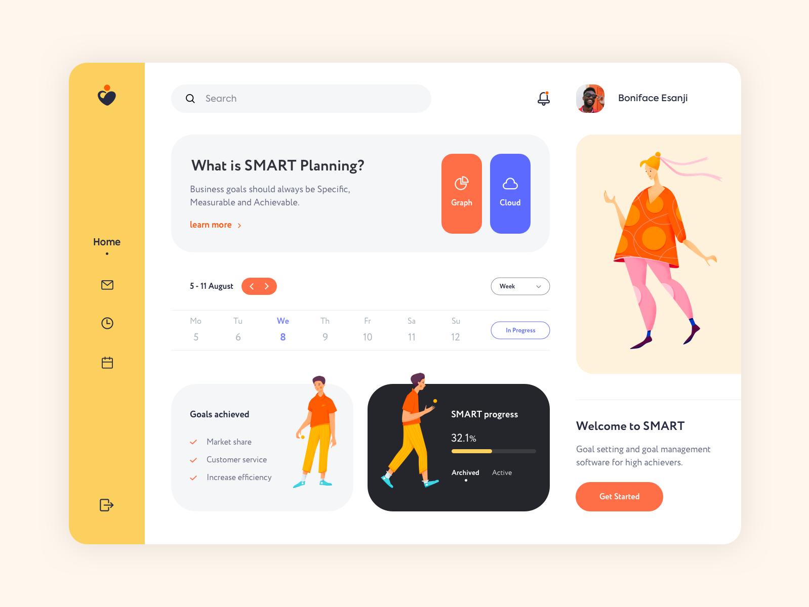 Dashboard - SMART dashboard vector minimal illustration app mobile design ux ui colors clean