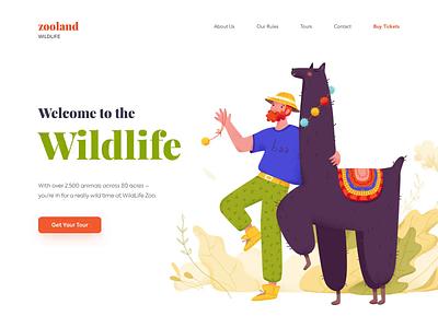 Landing page - WildLife Zoo website minimal illustration landing web ux design colors ui clean