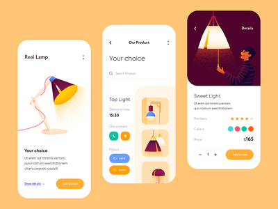 Mobile app - RealLamp app mobile minimal illustration design ux ui colors clean